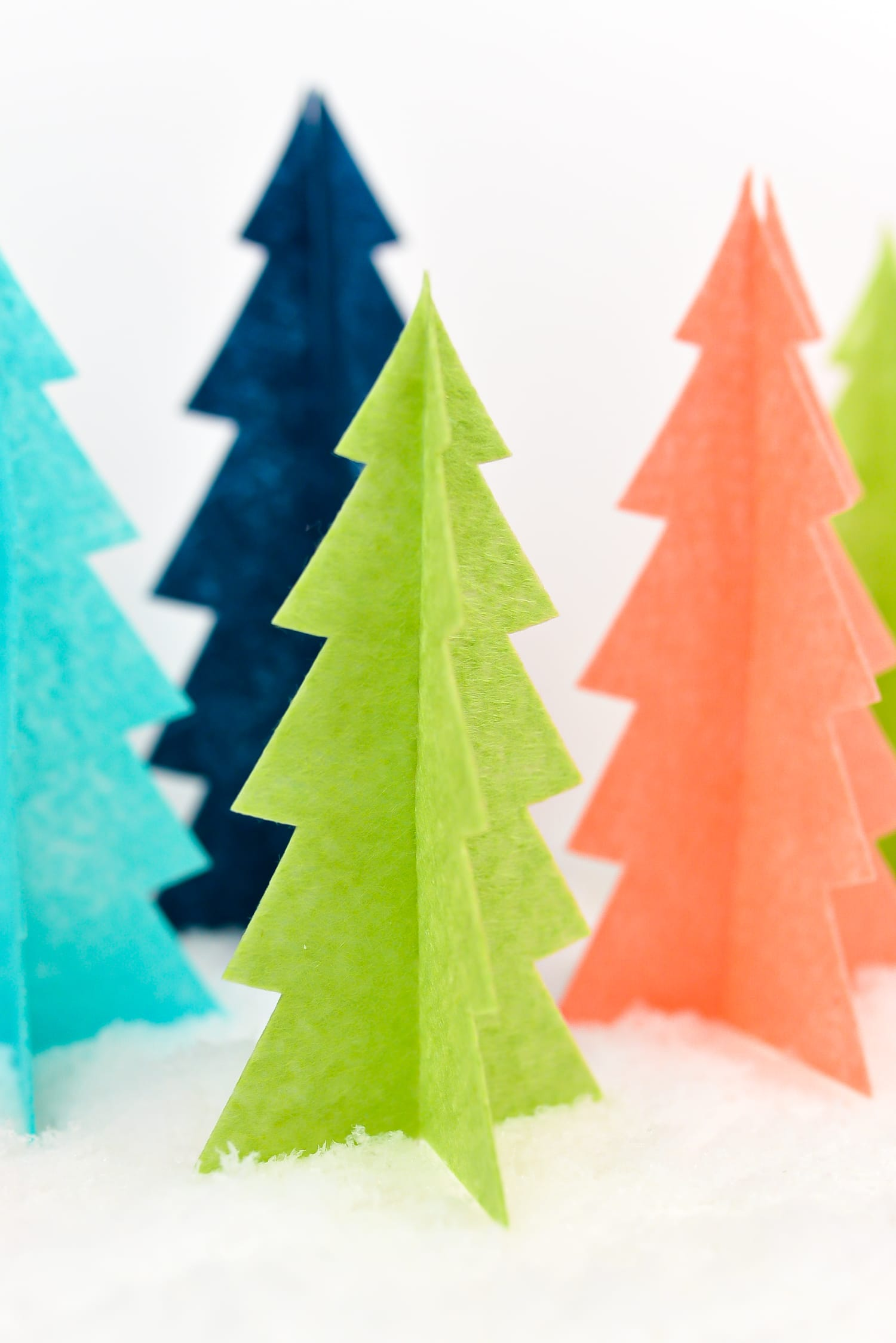 colorful felt Christmas trees made with Cricut