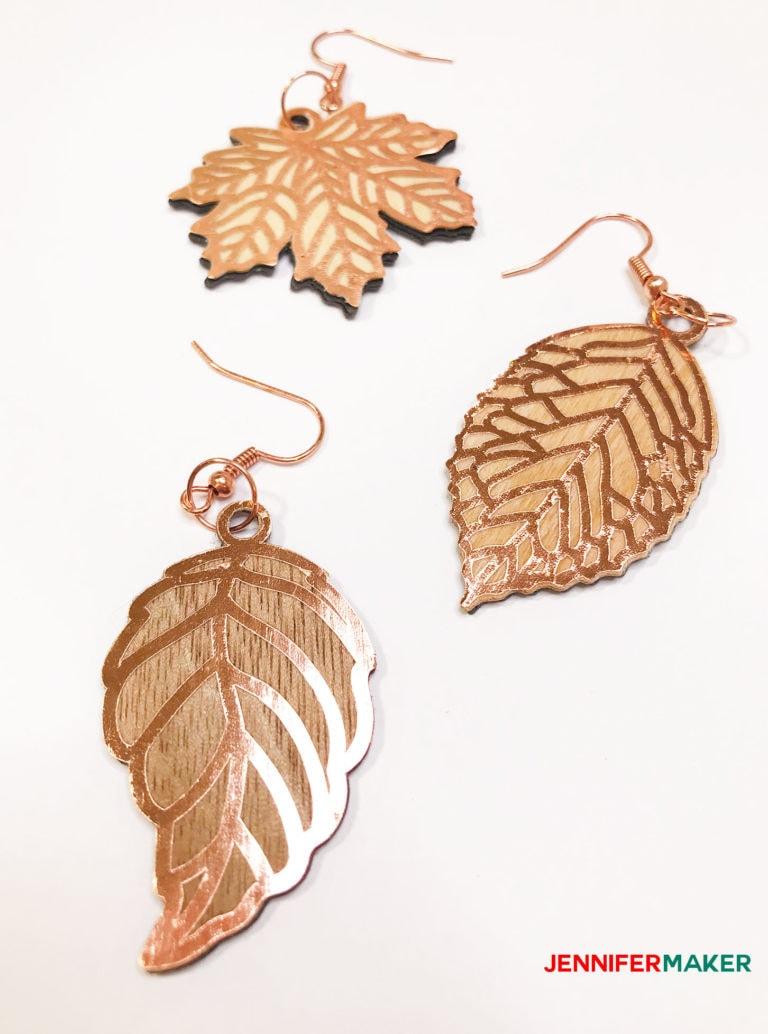 leaf shaped wood veneer earrings made with a Cricut Maker