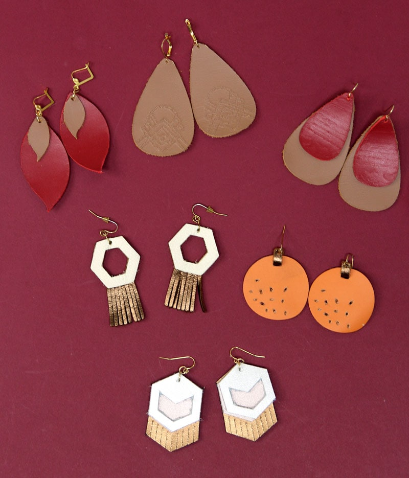 collection of 6 pairs of earrings made with Cricut