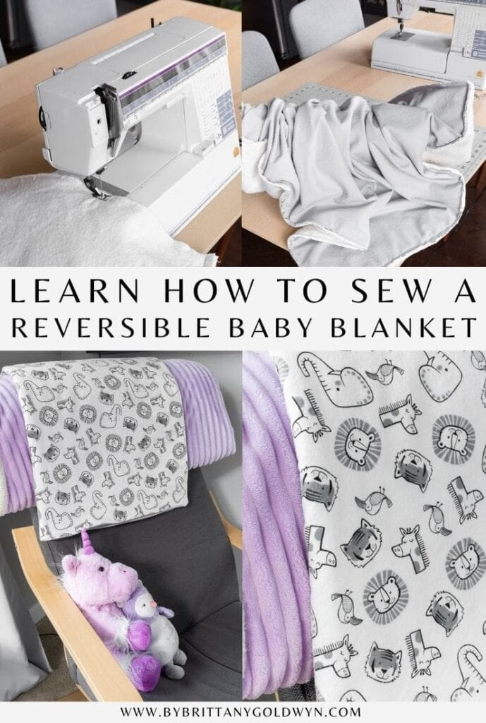 how to sew a double-sided baby blanket pinnable graphic with text overlay