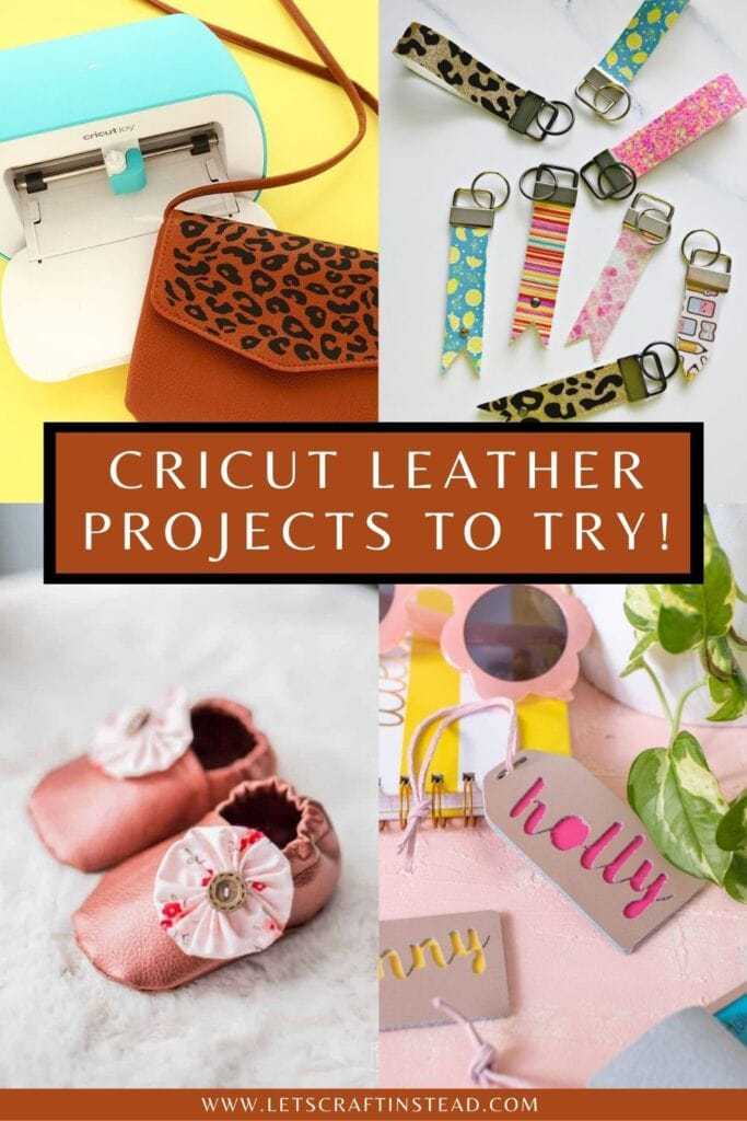 pinnable graphic about Cricut leather projects to try including images and text overaly