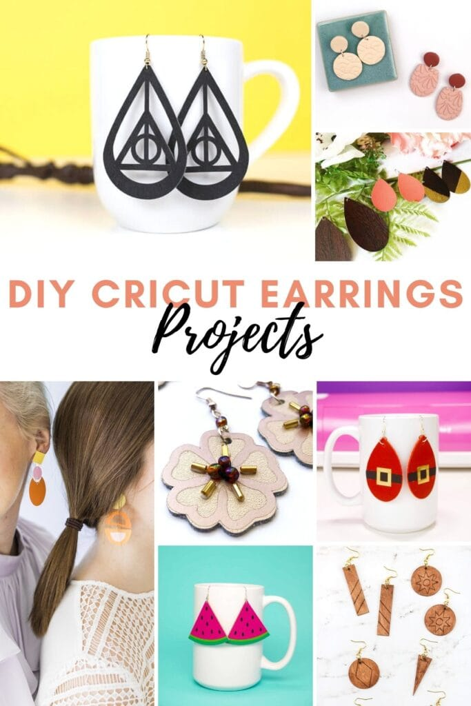 pinnable graphic about DIY cricut earring projects including images and text overlay
