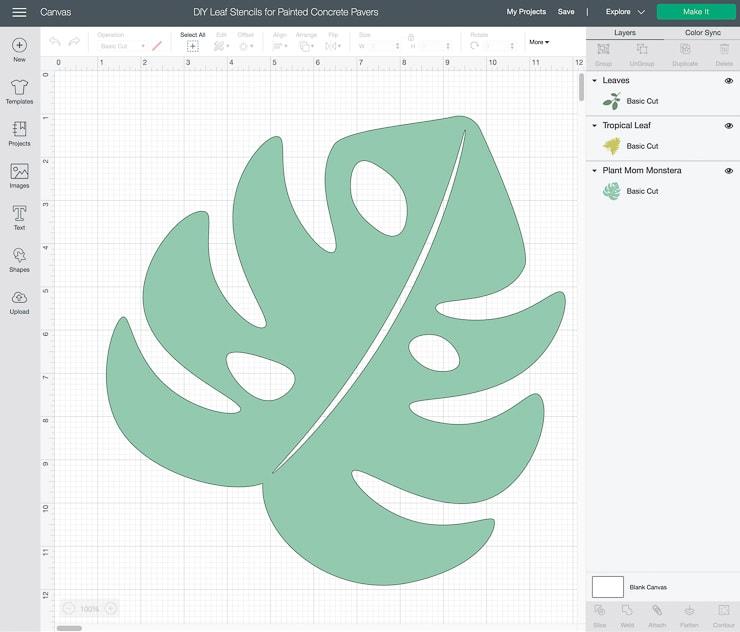 screenshot of a monstera leaf image in Cricut Design Space