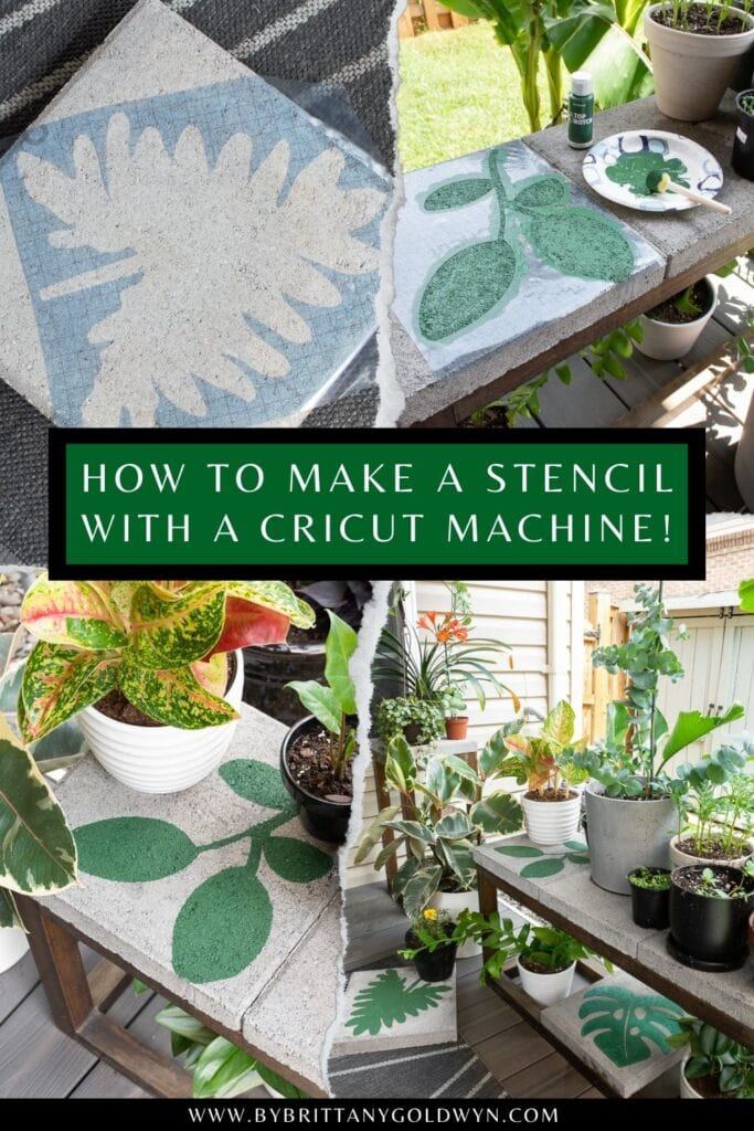 pinnable graphic about how to make a stencil with a cricut machine including images and text overlay