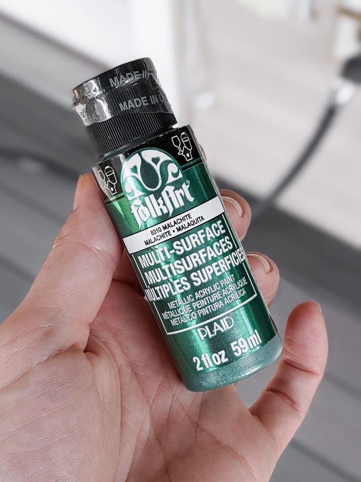 bottle of green acrylic paint
