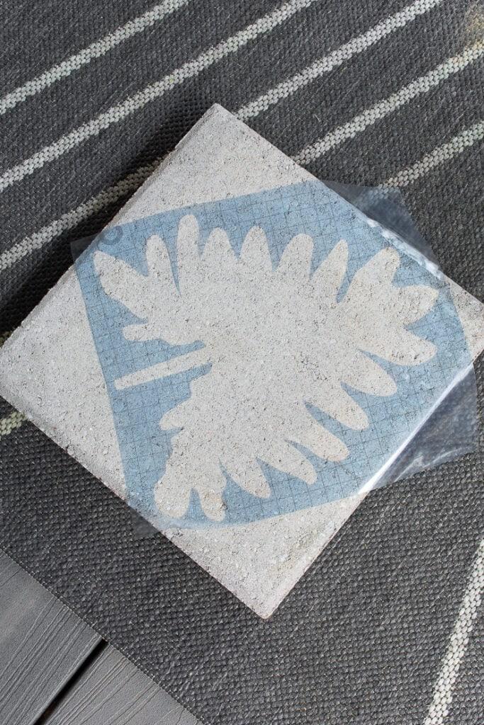 leaf stencil cut out of stencil vinyl on a Cricut machine