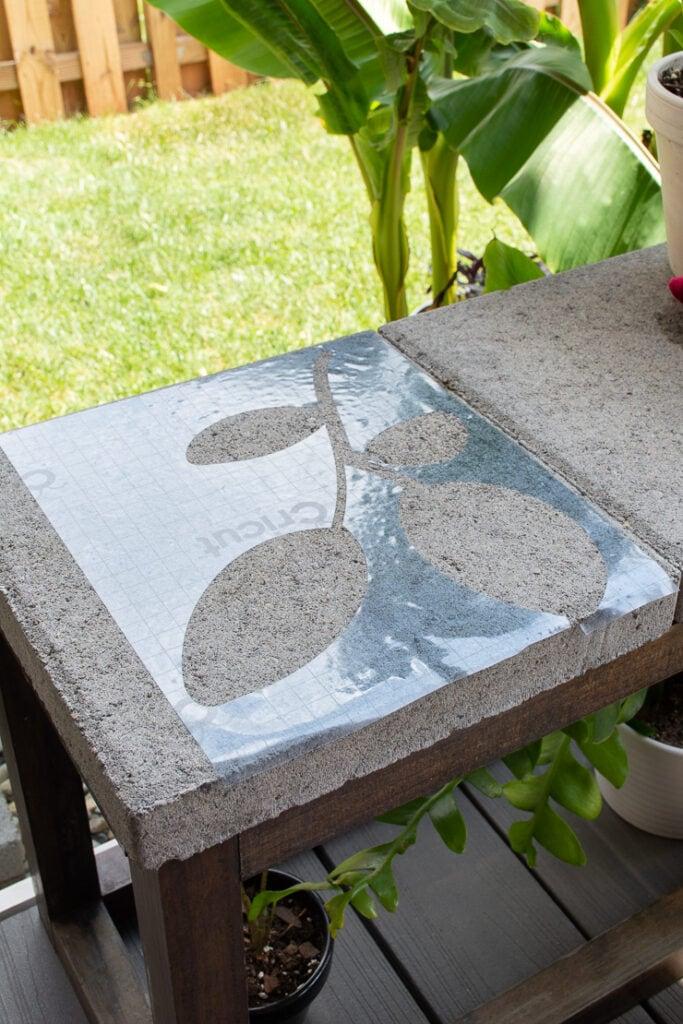 stencil cut out of stencil vinyl on a Cricut machine