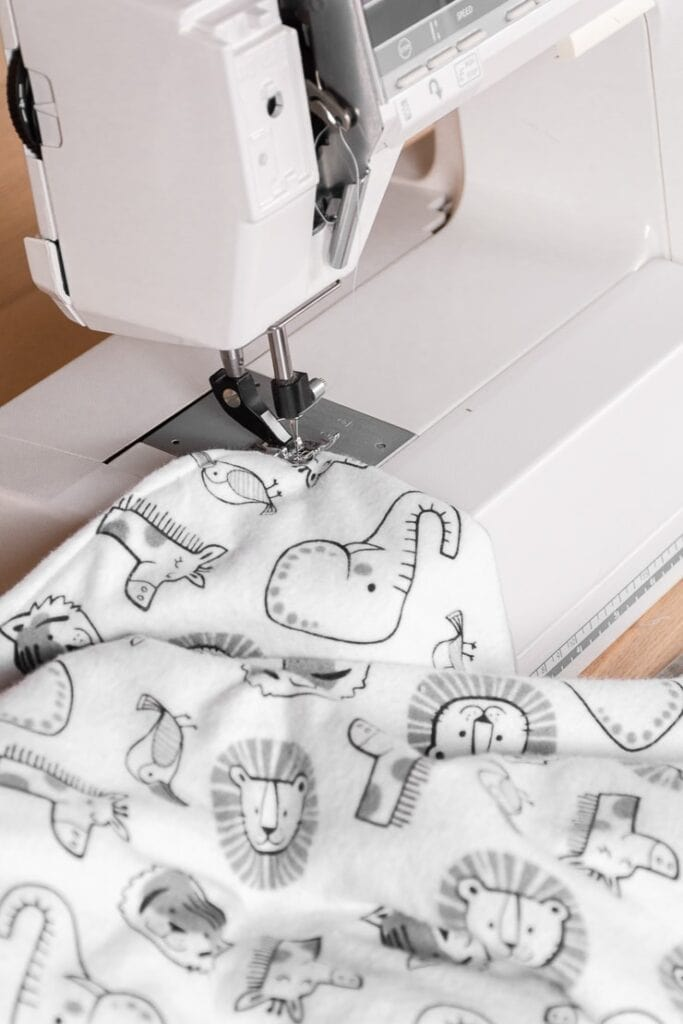 sewing a French seam on a homemade baby blanket