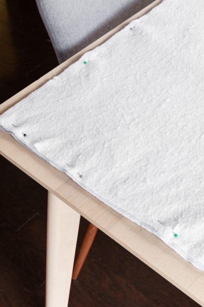 baby blanket fabric and batting pinned shut
